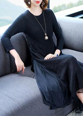 时尚气质女装2018秋装新款显瘦修身连衣裙 圆领长袖马甲两件套女 1520