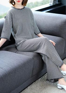 2018女装新款格子针织套装女宽松上衣+休闲阔腿裤气质时尚两件套 1519