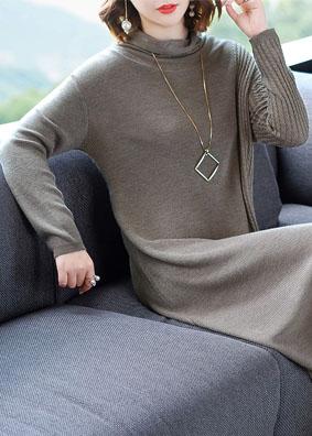 2018秋冬新款欧洲站时尚女装显瘦针织连衣裙长袖堆堆领中长打底裙 1515