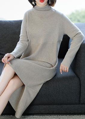 高领2018新款羊毛针织连衣裙显瘦中长款不规则裙 1511