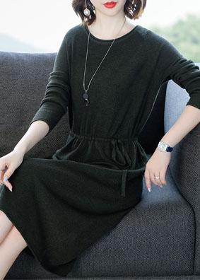 2018秋冬新款女装羊毛针织连衣裙收腰显瘦系带圆领长袖A字中长裙 1514