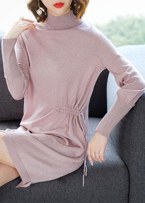 2018新款秋装松紧腰针织高领系带收腰长袖羊毛裙 1510