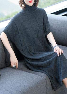 欧洲站女装2018秋装新款羊毛针织连衣裙宽松高领打底毛衣裙中长款 1509