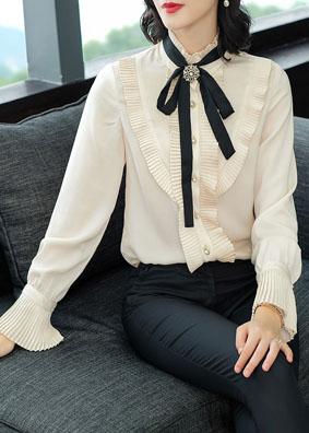 欧洲站时尚女装2018秋新款宫廷风蝴蝶结喇叭袖衬衣长袖衬衫女上衣 5211