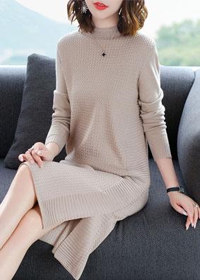 秋装女2018新款大码针织连衣裙长袖套头开叉修身鱼尾毛衣裙中长款 N0233