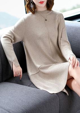 欧洲站时髦女装2018秋装新款针织连衣裙 开叉长袖毛衣打底裙A字裙 1550