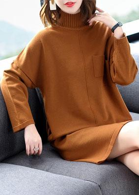 时尚气质女装2018新款秋冬高领长袖开叉针织连衣裙宽松打底毛衣裙 1558