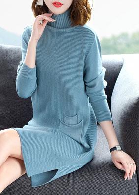 新秋冬针织连衣裙高领长袖修身显瘦开叉毛衣裙 1556