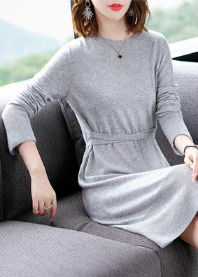 腰系带两穿气质修身针织连衣裙秋冬羊毛打底裙 1562