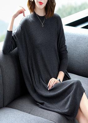秋冬宽松针织连衣裙时尚气质不规则毛衣裙 1560