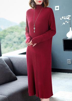 秋冬修身连衣裙高领毛衣套头中长款针织打底衫 1555