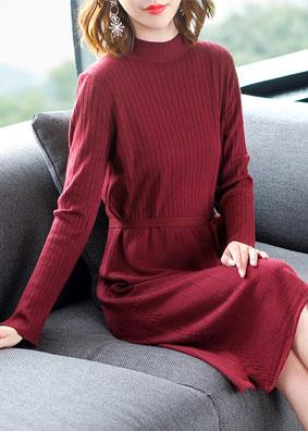 蝴蝶结系带红色针织秋开叉修身毛衣打底裙 1544