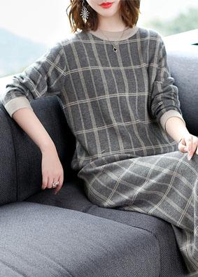 格子针织套装上衣系带抽绳半身裙毛衣两件套 1529