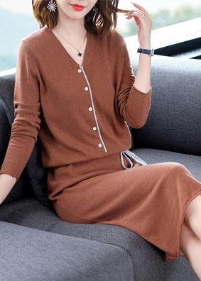 新款秋V领修身系带显瘦铅笔裙优雅气质包臀裙 1563