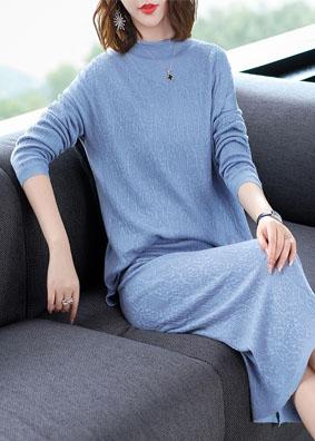 纯色长袖针织衫+开叉半身裙毛衣两件针织套装秋冬 1535