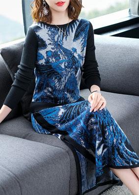 民族风女装2018新款青花瓷长袖针织衫两件套开叉半身裙时尚套装女 N70067