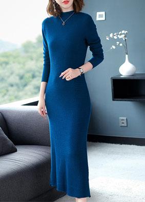 2018秋冬新款女装针织连衣裙半高领长袖优雅气质鱼尾毛衣裙长裙女 N0233B