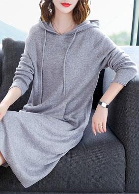 2018女装连帽卫衣女毛衣裙宽松过膝针织连衣裙长袖套头纯色打底裙 1553