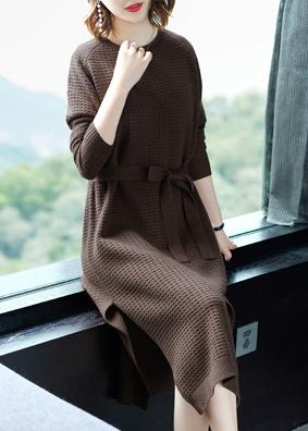 大码女装2018秋季新款纯色修身针织连衣裙系带长袖毛衣裙中长裙子 N908