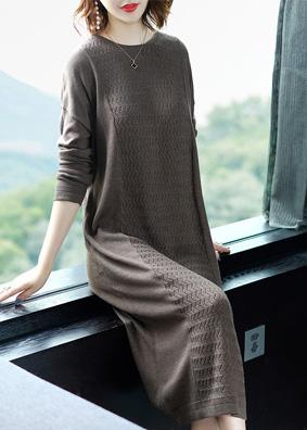深圳女装2018新款修身针织连衣裙系带收腰打底毛衣裙中长裙子批发 N707