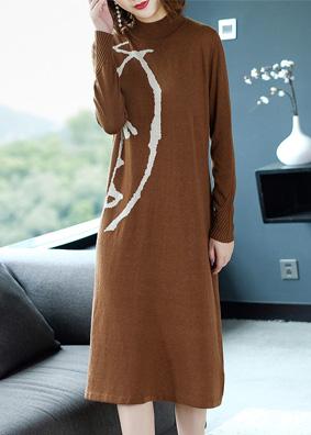 2018女装欧美秋装长袖时尚修身针织连衣裙半高领毛衣裙中长款裙子 N915