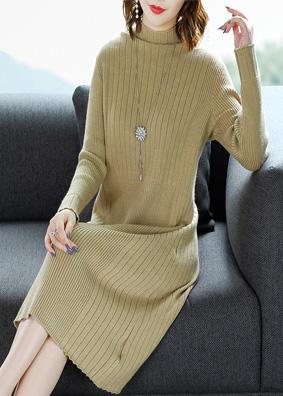 宽松显瘦针织连衣裙秋冬女装2018新款高领长袖打底裙中长款毛衣女 N701