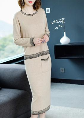 2018新款针织套装裙圆领长袖针织衫上衣+半身一步裙时尚两件套女 N99012