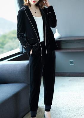 金丝绒运动休闲套装女秋装2018新款气质小西装松紧腰长裤两件套女 S002