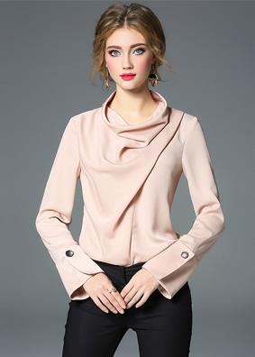 欧美时尚女装2018秋冬新款纯色缎面衬衫气质百搭上衣堆领长袖衬衣 5265