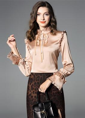 2018女装新款欧洲站秋装缎面衬衫立领上衣名媛气质木耳边系带衬衣 5275