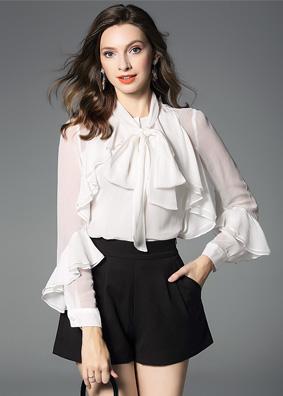 欧美女装2018秋装开衫上衣女飘带宽松真丝衬衫长袖荷叶边纯色衬衣 5306
