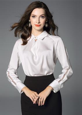 欧洲站女装缎面上衣翻领长袖真丝衬衫女秋装新款镶钻镂空纯色衬衣 5271