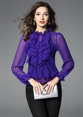 2019女装真丝衬衫长袖新款秋装套头透视上衣荷叶边木耳边绣珠衬衣 5293
