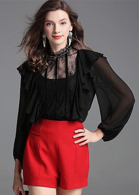 精品时尚女装荷叶边灯笼袖衬衫镂空透视宽松上衣女钉珠纯色衬衣 5345