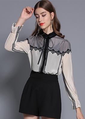 欧洲站2019春装真丝衬衫撞色飘带立领印花上衣时尚百搭喇叭袖衬衣  1733