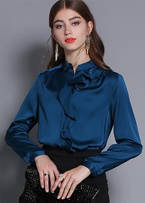 2019新款欧美女装纯色衬衣女长袖荷叶边立领衬衫时尚气质百搭上衣  1700
