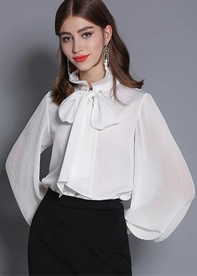 飘带镶钻蝴蝶结灯笼长袖衬衫压褶立领白色衬衣重磅女装宽松上衣女  5332