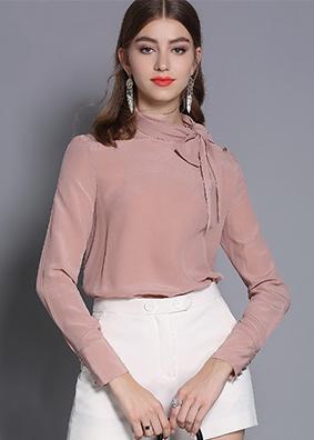欧美高端女装2019春装新款02双绉真丝衬衫桑蚕丝衬衣长袖纯色上衣  5324