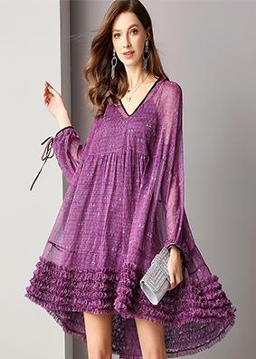 欧美优雅性感女装V领灯笼长袖宽松印花连衣裙减龄飘逸不规则短裙  1775
