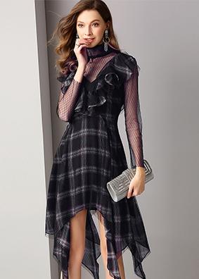 欧美女装顺纡格纹拼接网布荷叶边长袖连衣裙气质飘逸不规则中长裙  1773