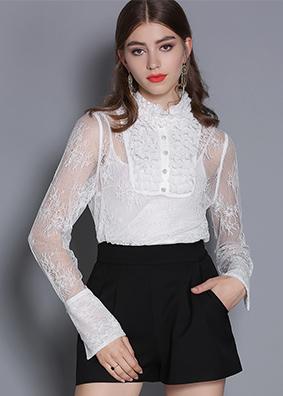 2019女装新款木耳边高领混纺真丝衬衫女喇叭长袖衬衣性感透视上衣  5325