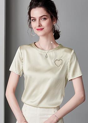 欧美女装亮片镶钻重磅真丝T恤夏简约爱心OL通勤桑蚕丝短袖上衣女