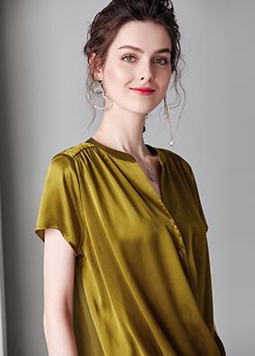 914073-1欧美高端女装交叉V领衬衣16姆米重磅真丝衬衫桑蚕丝上衣
