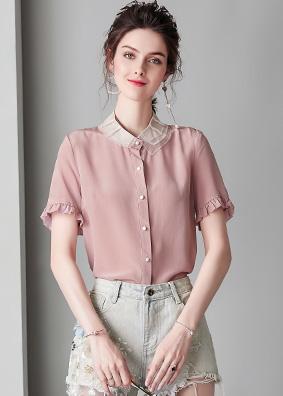 2019女装夏季纯色翻领16姆米重磅真丝衬衫女上衣桑蚕丝衬衣914146