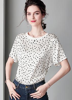 914150欧洲站时尚百搭重磅真丝上衣女T恤星星印花宽松桑蚕丝衬衫