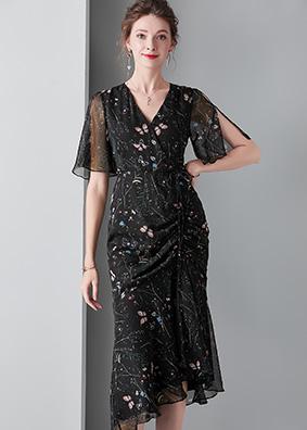 913047欧美时尚精品女装荷叶袖蝴蝶印花连衣裙抽绳收腰性感包臀裙