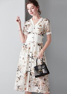 913048 法国小众短袖V领连衣裙小香风印花仙女裙束腰显瘦中长裙子