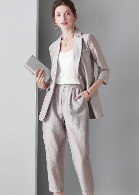 时尚女装夏季新款翻领短袖西装西服气质套装 910018