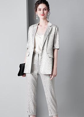 910009 时尚女装夏季新款翻领短袖西装西服气质套装