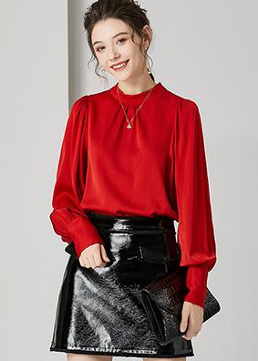 924130 高端欧货褶皱灯笼袖真丝衬衣 洋气职业装重磅桑蚕丝衬衫女